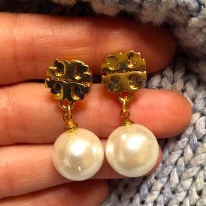 Tory Burch — huge Pearl and logo earrings